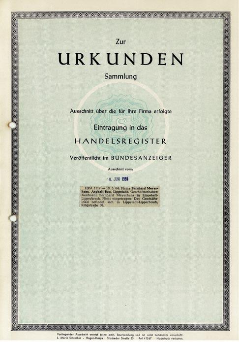 Gründungsurkunde 1964